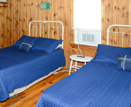 two double beds with vibrant blue covers and white iron headboards, knotty pine walls