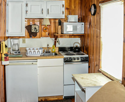 small kitchen area with white appliances and cabinets tucked into a corner