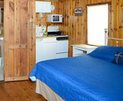 partial view of bed with vibrant blue cover, kitchen with white appliances in corner, door open to bathroom, knotty pine walls