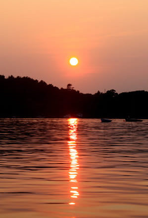 brilliant orange sun just above the forest horizon with rowboats in water